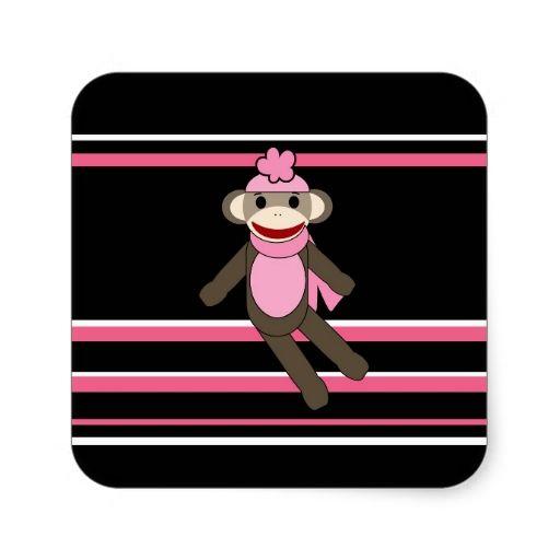 Cute pink black stripe sock monkey girl flower hat sticker