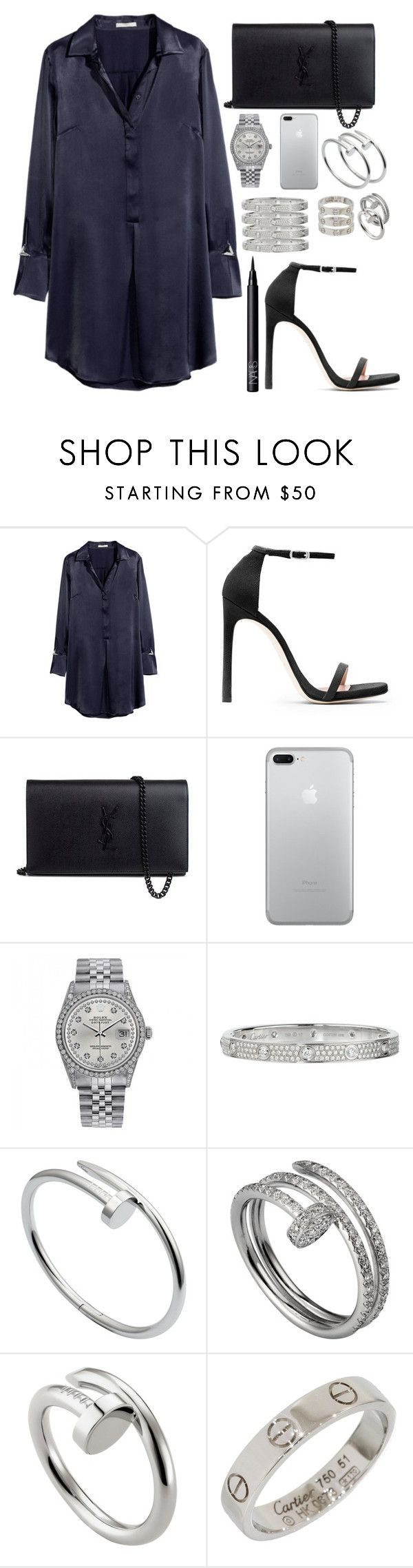 """inspired dinner date outfit"" by crisarranz ❤ liked on Polyvore featuring H&M, Stuart Weitzman, Yves Saint Laurent, Rolex, Cartier and NARS Cosmetics"