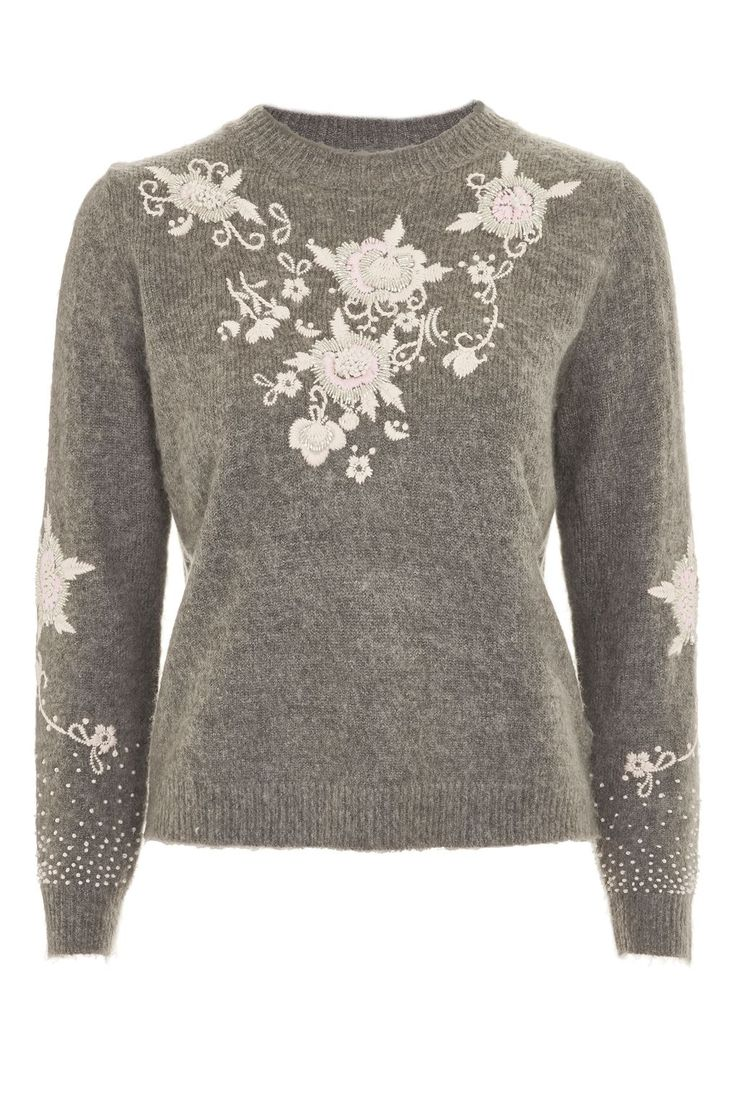 Fluffy Embroidered Jumper