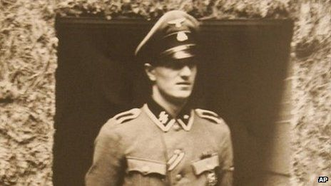 Hitler's bodyguard and telephone operator Rochus Misch seen in Hitler's bunker in Poland in 1944.  Rochus died 6 September, 2013.