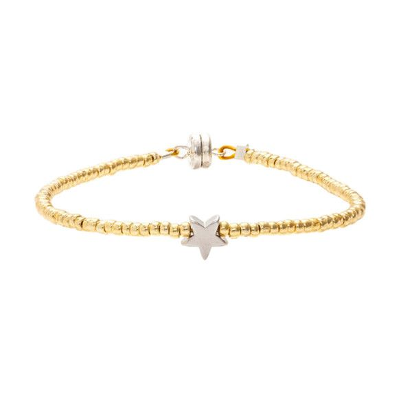MINNIE GRACE Gold Beaded Star charm friendship bracelet | La Luce