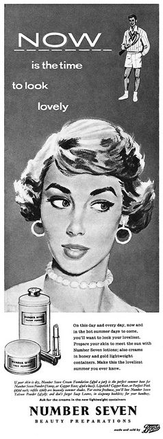 Boots No. 7 Cosmetics advertisement.    From Woman's Own magazine, 1st August, 1957.