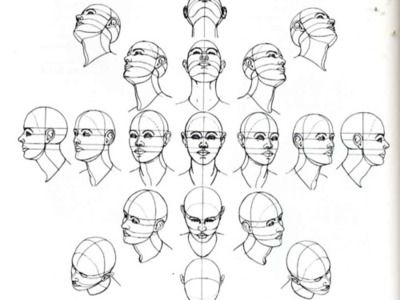 I like this because it shows how to draw a person's head from various different angles.