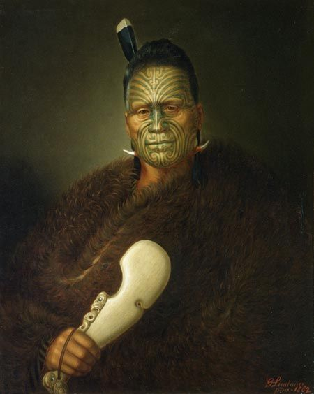 King Tāwhiao. A portait of the 2nd Maori King, a leader of great mana, held in a high degree of tapu or sacredness and restriction.