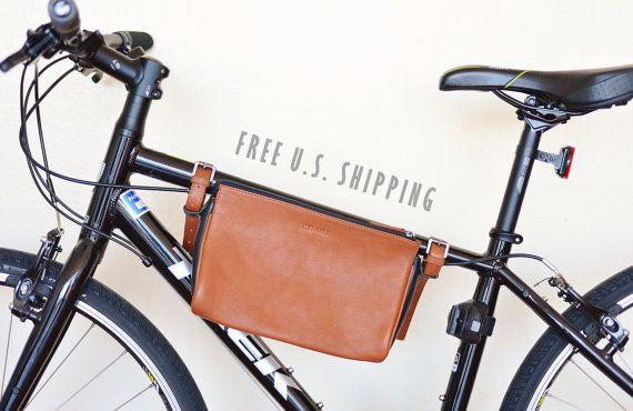 Bike bag leather, bicycle bag, bike frame bag, brown bike bag, convertible bike bag, frame mounted bag, bike phone bag, bike accessories