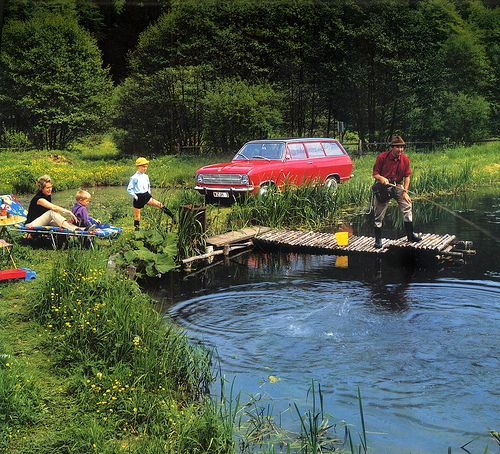 Good old fashioned family fun  1967 calendar - Opel Kadett Caravan  Photo is taken in Germany's Taunus region.  Something worries me here. There is turmoil in the water to the right - or left, what you prefer - of Dad, and nobody seems to worry. And will junior respect himself later when he sees this photo, complete with straw hat, shorts and long black socks?