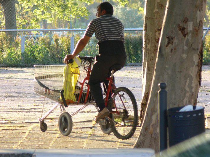 Good idea? A shopping cart modified as a shopping bike - Sevilla - Spain