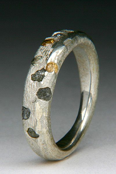Float Cast Cuttlefish Bone Ring with Rough Diamonds & Sapphires