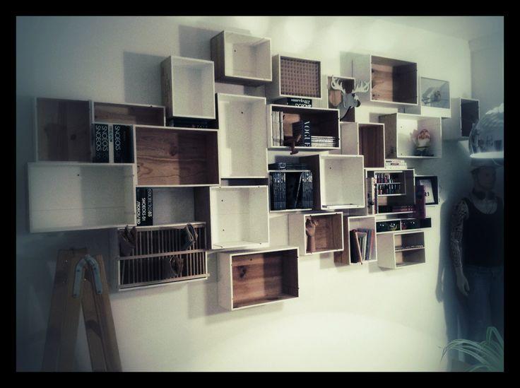 Mijn muur van wijnkistjes