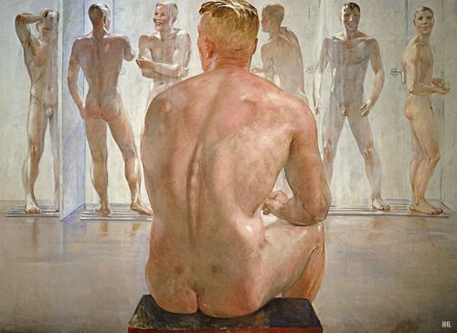 "Alexander Deineka (Russian, 1899-1969), ""After the battle"", 1942.  Particularly interesting view of men showering--lending hope for mankind then in the midst of WWII."