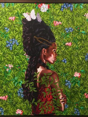 "#FLY art: Kehinde Wiley's ""Portrait of Bintou Fall"" (oil on linen) at 21 Museum & Hotel in Louisville, KY (til 03.18)"