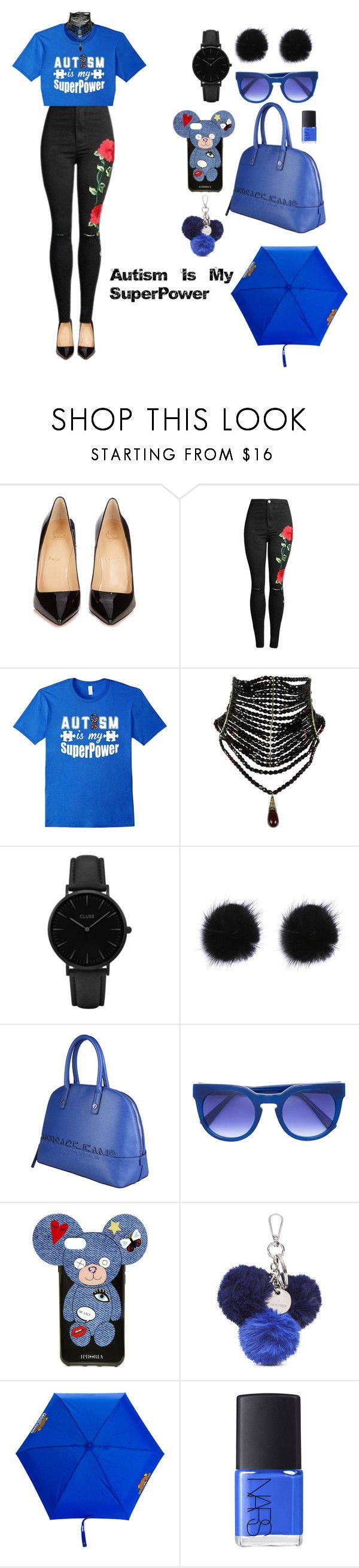 """Autism Is My Superpower T Shirt"" by beldisegno ❤ liked on Polyvore featuring Christian Louboutin, CLUSE, Versace, Iphoria, Nine West, Moschino and NARS Cosmetics"