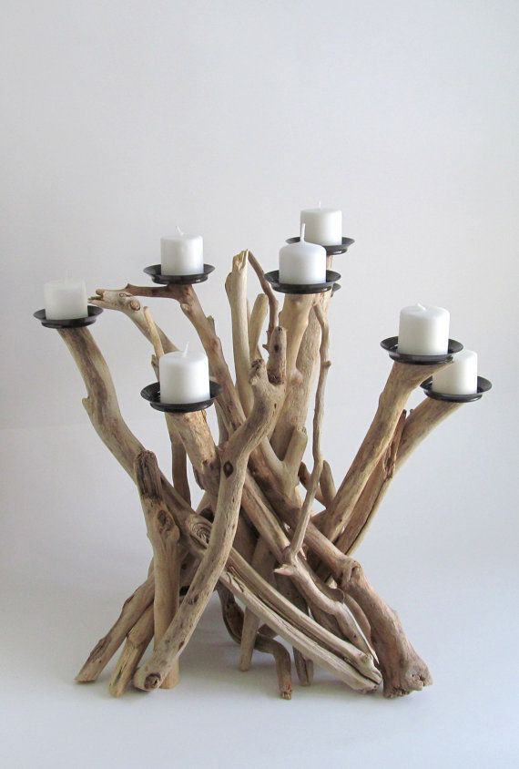 Driftwood Eight Candle Candelabra, Driftwood Centerpiece, Driftwood Candelabra, Beach Decor, Driftwood Art, Rustic Decor, Wood Candle Holder