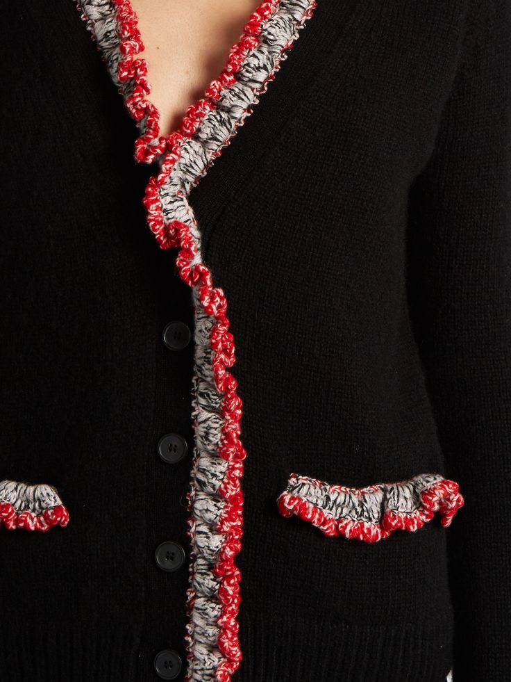 Click here to buy Alexander McQueen Crochet-trimmed V-neck cashmere cardigan at MATCHESFASHION.COM