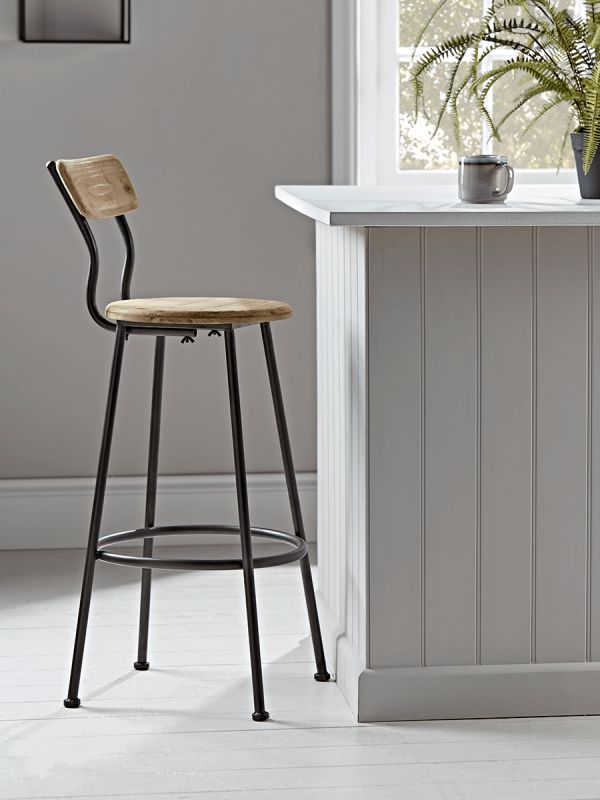 Wood Amp Metal Backed High Stool Kitchen Kitchen Counter