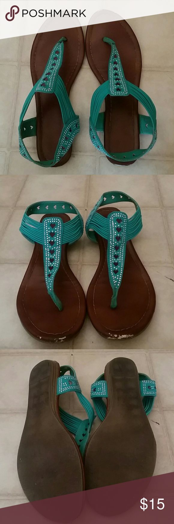SALERope Halter Sandals Really cute teal sandals with subtle gems and heart cutouts in the front. Has some scuffing on the front (shown) but lots of life left in them! Shoes Sandals
