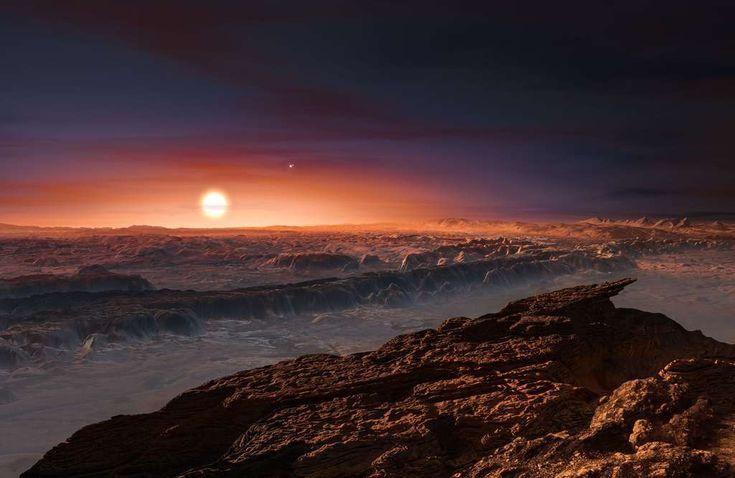 Illustration de la surface de Proxima b, planète rocheuse orbitant autour de Proxima du Centaure. © ESO
