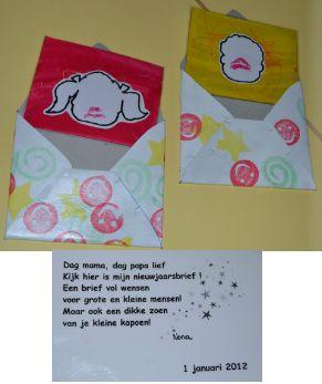 Dag mama, dag papa lief Kijk hier is mijn nieuwjaarsbrief! Een brief vol wensen voor grote en kleine mensen. Maar ook een dikke zoen van je kleine kapoen (naam) (datum)