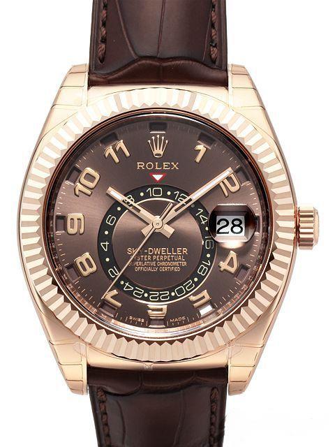 Rolex Sky-Dweller 326135 Everose-Gold Leder Choco