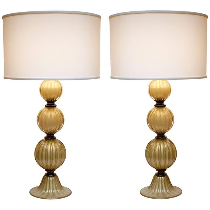 view this item and discover similar table lamps for sale at beautiful pair of murano glass lamps with gold flecks throughout
