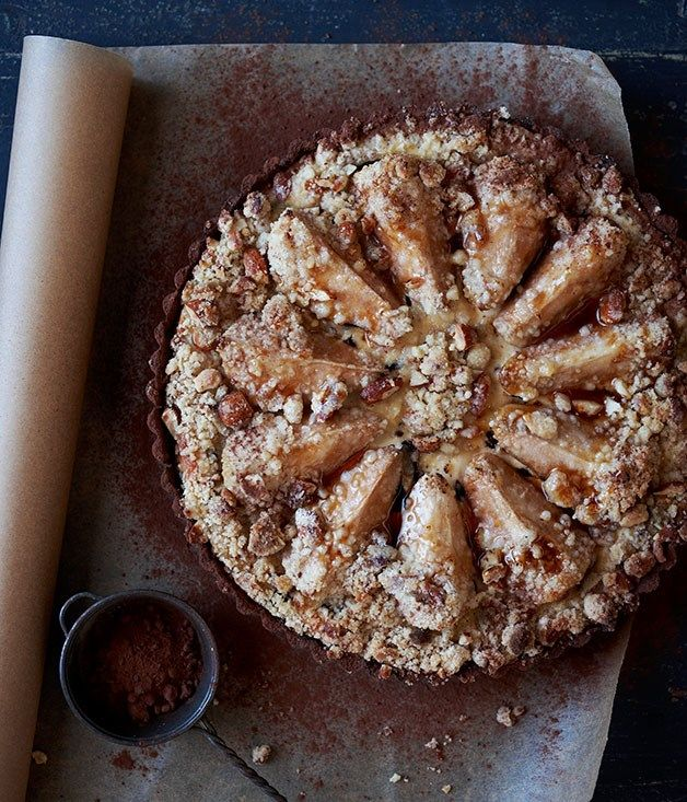 Pear, chocolate and ricotta tart recipe :: Gourmet Traveller