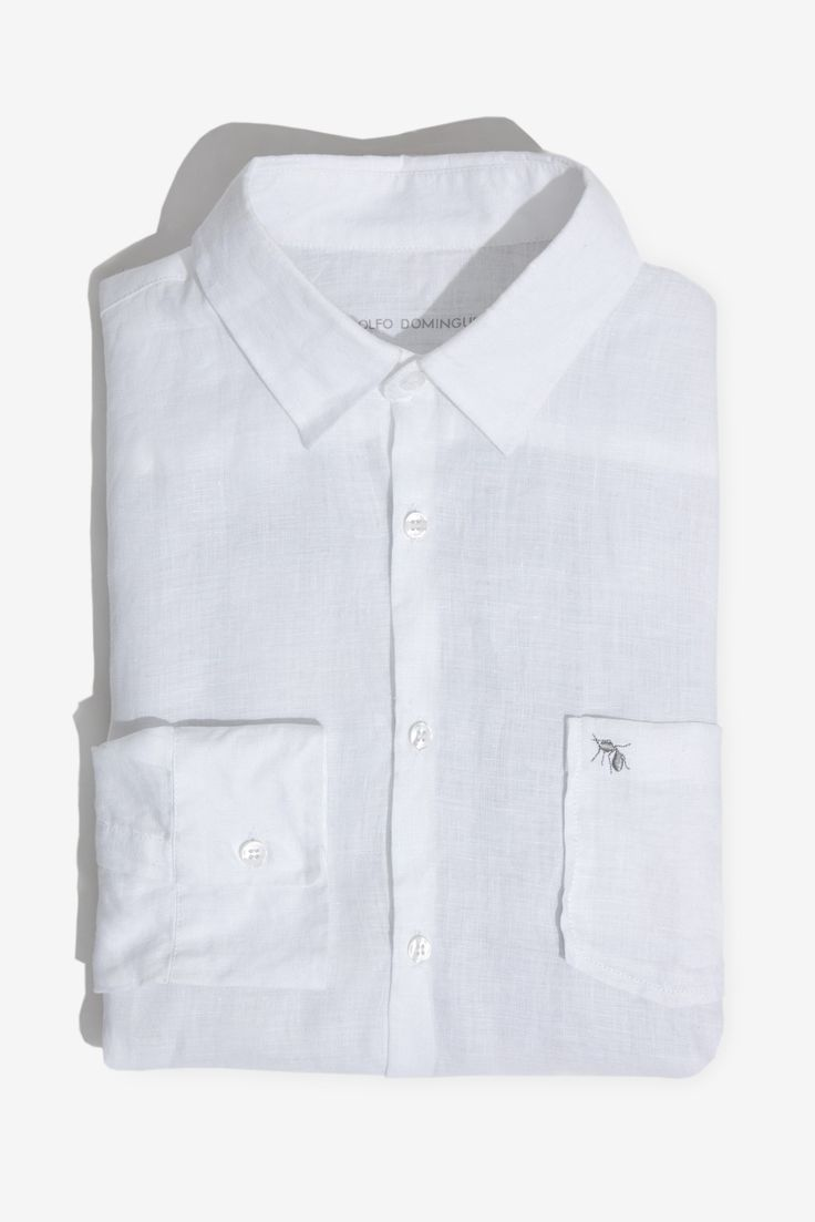 Camisa regular fit de lino blanco | Adolfo Dominguez shop online