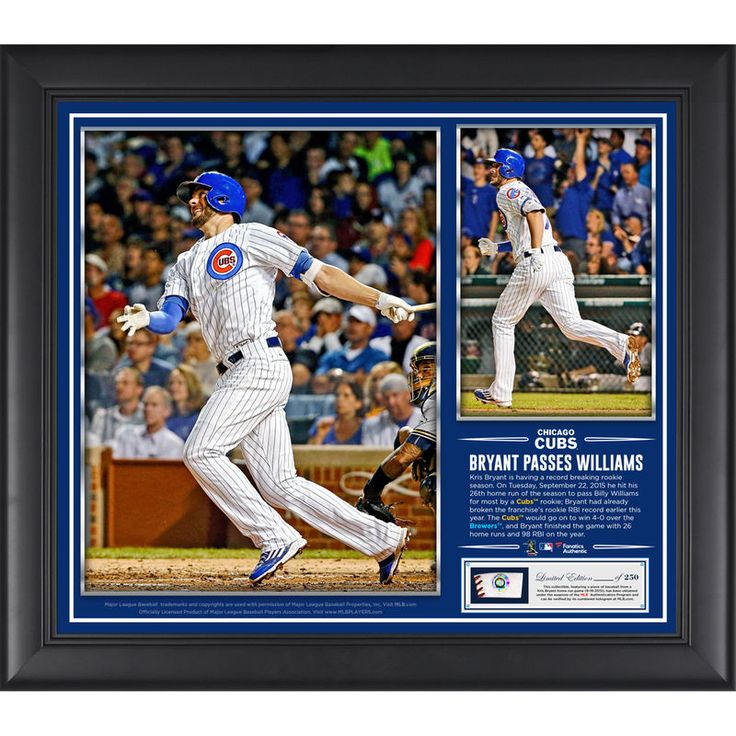 Kris Bryant Chicago Cubs Fanatics Authentic Framed 15'' x 17'' Rookie Home Run Record Collage w/ a Piece of Game-Used Ball
