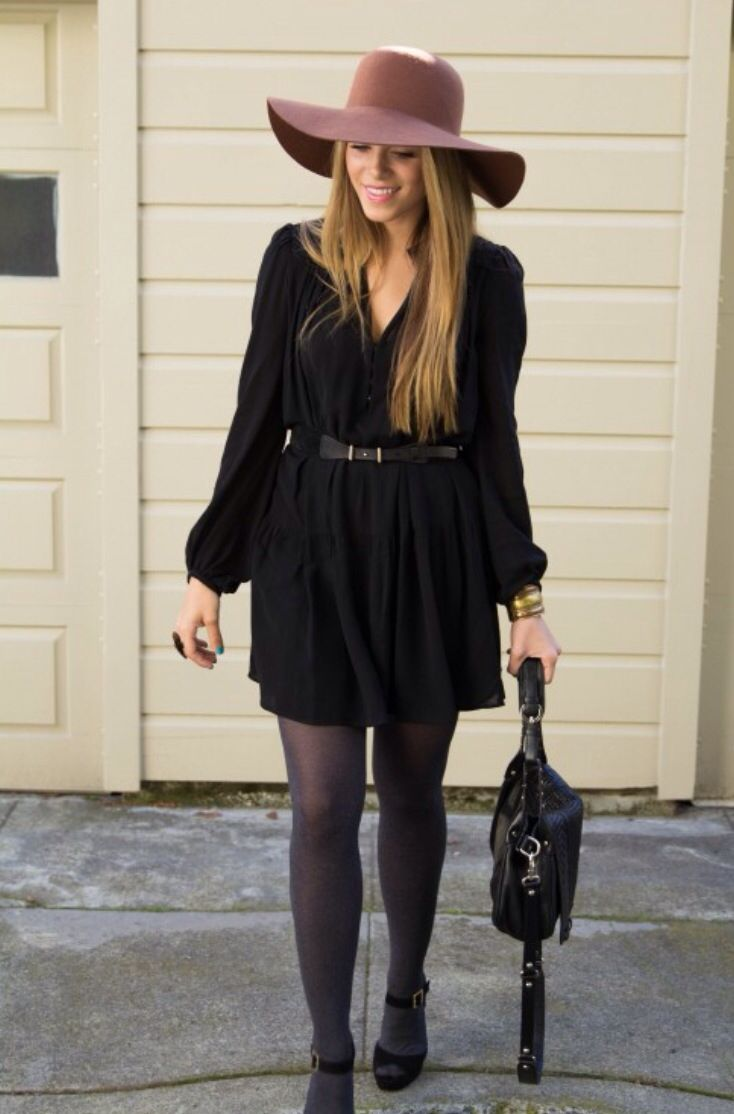 Floppy felt hat and an all black outfit. | My Style ...