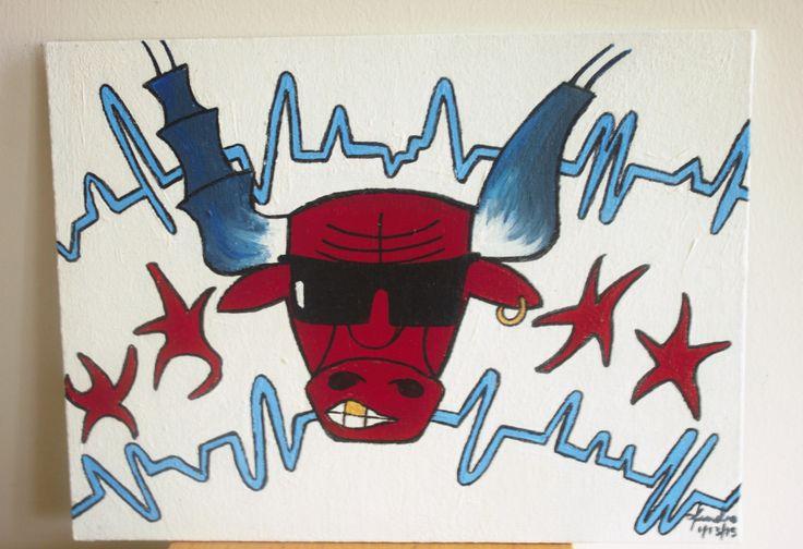 Bulls Nation Benny the Bull Chicagoan Pride Chicago Bulls. Chicago flag art acrylic painting