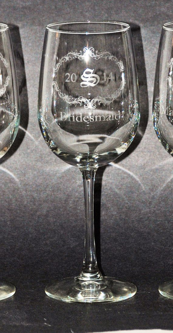9 Etched Wine glasses 16 oz tall wine glass by MemoriesMadeToronto