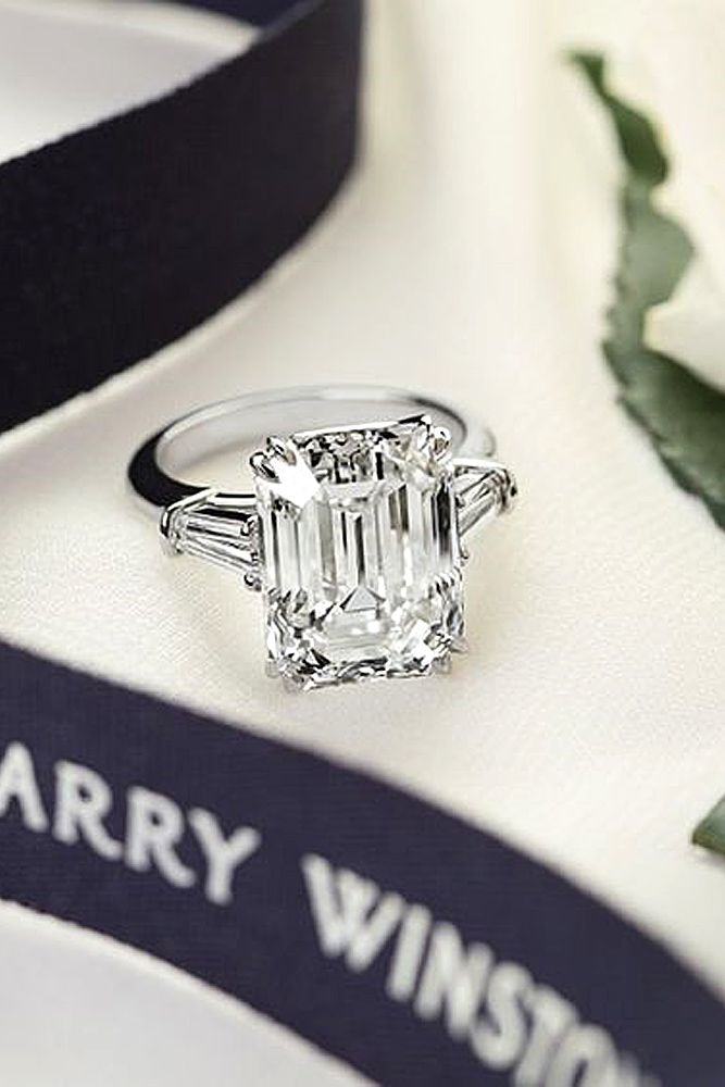 18 Eye-Catching Emerald Cut Engagement Rings ❤ See more: http://www.weddingforward.com/emerald-cut-engagement-rings/ #wedding #engagement #rings