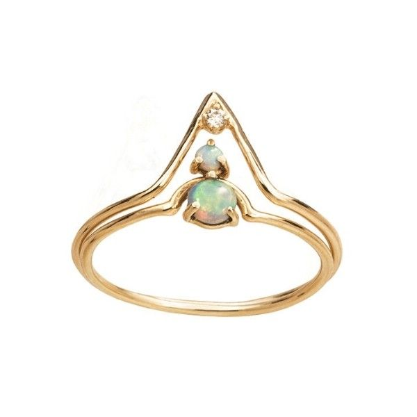 WWAKE Diamond Triangle and Nestled Opal Ring Stack (2.610 BRL) ❤ liked on…