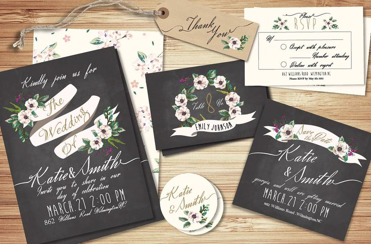 Wedding invitation suite Templates by Graphic Box on @creativemarket