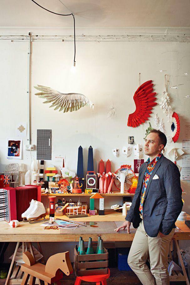 Benja Harney, paper artist, in his studio.