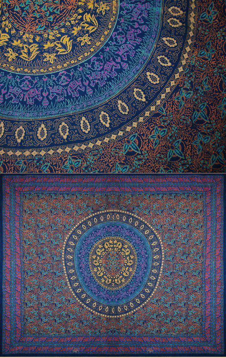 Antique Indian Textile. Probably Coromandel Coast Cotton Block Print 1930 - 1950 A.D