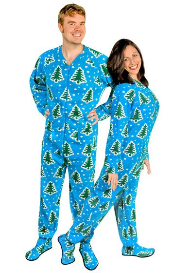 Adult Footed Pajamas with Butt Flap Pine Trees