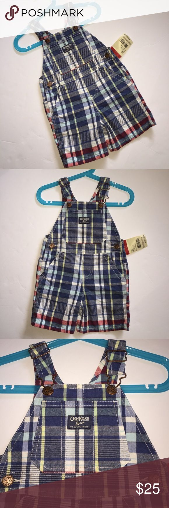 New Osh Kosh Overall shortfalls Cute Plaid Design New Osh Kosh Overall shortfalls Cute Plaid Design New OshKosh Overalls Jeans Plaid Design Look! Super Cute shortalls overalls New with tags! Super Cute Plaid colors with shades of Red, shades of Blue and Yellow.  Snaps between legs for easy dressing and adjustable top straps for perfect fit. So Adorable! Perfect for you little man. NWT's! Size 18 months OshKosh B'gosh Bottoms Overalls