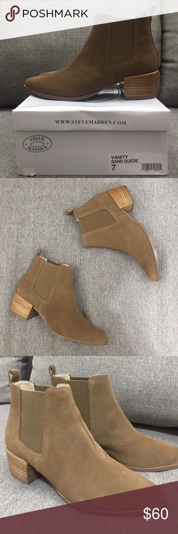BRAND NEW Steve Madden Vanity Chelsea Boot Steve Madden Chelsea style boot in sand Suede. BRAND NEW IN BOX Steve Madden Shoes Ankle Boots & Booties