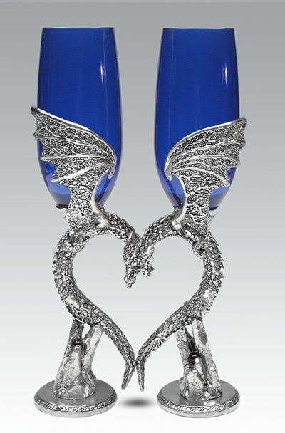 Blue Dragon Wing Heart Champagne Flutes – Royal Blue