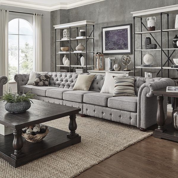 Best 25 grey tufted sofa ideas on pinterest elegant - Chesterfield sofa living room ideas ...