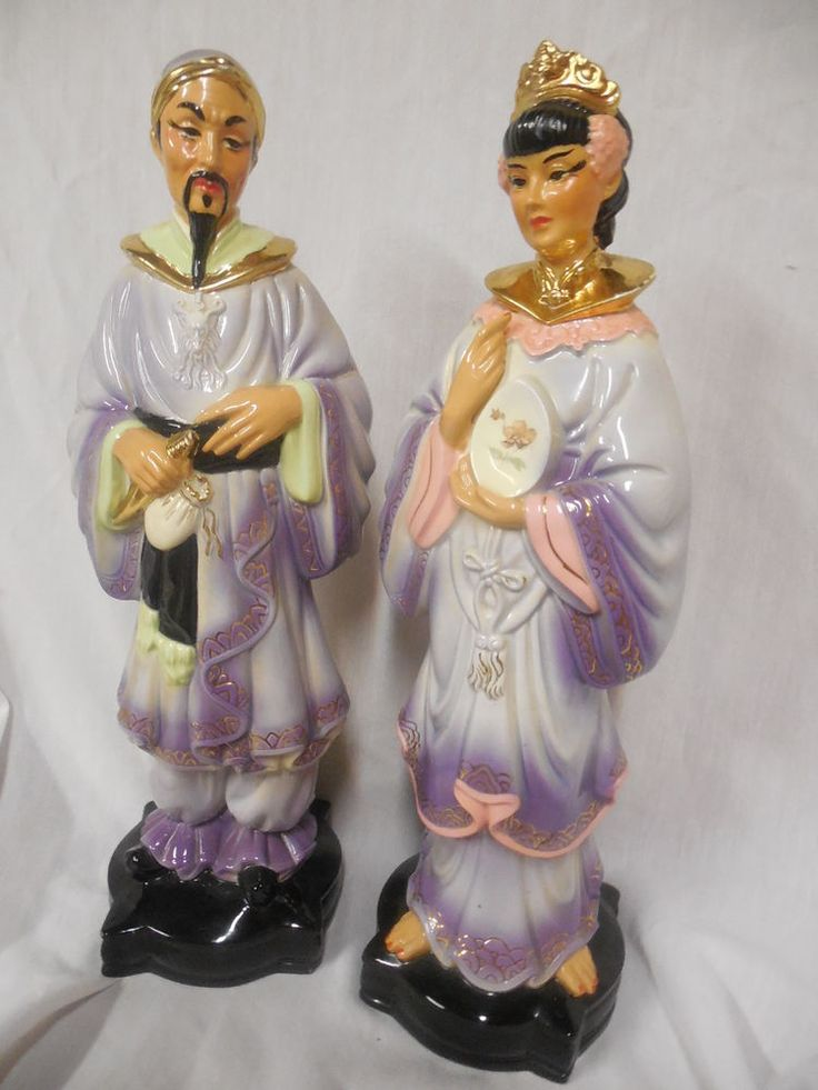 Pair Of 15 1 2 Quot Asian Oriental Chinese Man Woman Porcelain