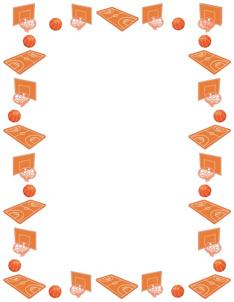 Baseball page border clipart best - Basketball Page Border Featuring Basketballs Courts And