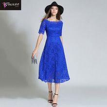 High Quality Short Sleeve Lace Dress 2017 Autumn New Arrival Blue Dresses Mid-Calf Blue Long Dress High Waist Size S-XXL