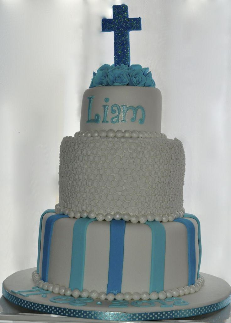 Blue Cross, Blossoms & Roses Christening Cake