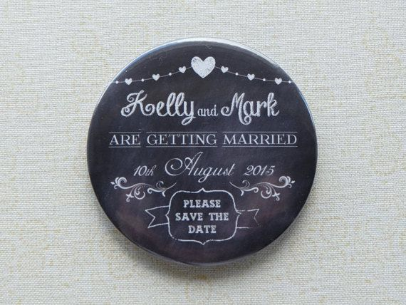 Blackboard style save the date magnet by LuckySixpenceDesign