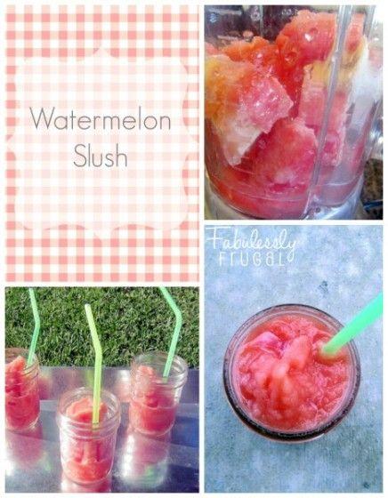 Watermelon Slush | FabuLESSly Frugal Recipe. Watermelon, Banana, water, lime juice & honey - YUM!!!!Watermelon Slushies, Slush Recipe, Yummy Watermelon, Fruit Juice Watermelon Bananas, Fabulessly Frugal, Frozen Smoothie Recipe, Frozen Banana, Refreshing Slushies, Summer Snacks