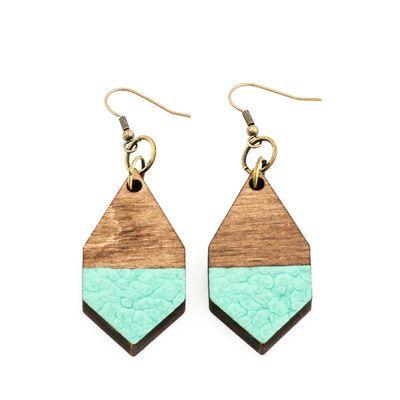 DIAMANTE earrings in hammered emerald