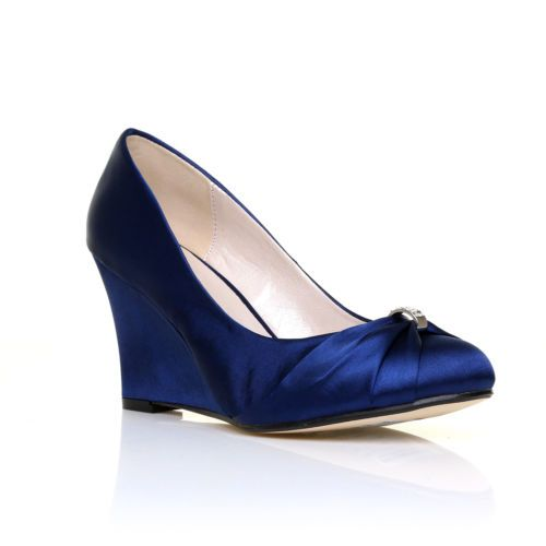 Eden Navy Satin Wedge High Heel Bridal Court Shoes | eBay Bridesmaid shoe wedge option