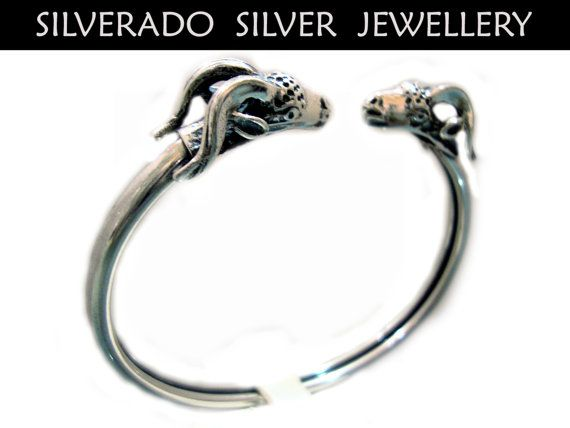 Ancient Greek Double Ram Arial Head Bangle by SilveradoJewellery, €63.00