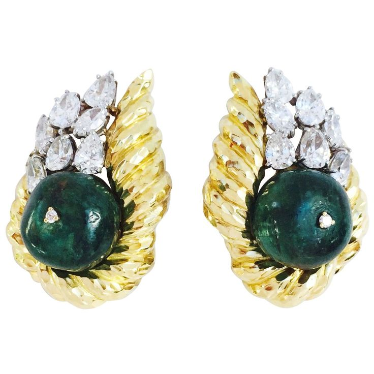 1960s Exquisite David Webb Emerald Diamond Gold Platinum Ear Clips